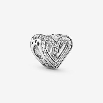 Pandora bedel 798692C01 sprankelende opengewerkte vrijehand hart