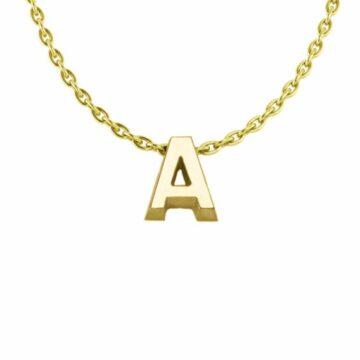 Minioro collier met letter A t/m Z goud