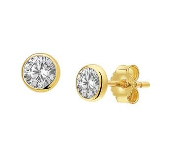 40.18265 Gouden oorknoppen zirkonia